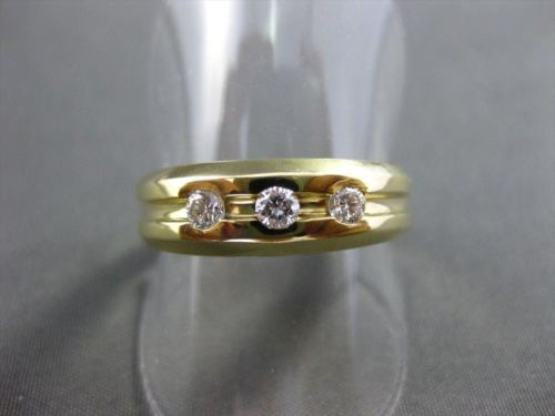 ESTATE WIDE .30CT DIAMOND 14KT YELLOW GOLD 3 STONE GYPSY RING UNIQUE!!! #10282