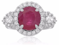 GIA CERTIFIED 5.42CT DIAMOND & AAA RUBY 18K WHITE GOLD CLASSIC 3 STONE HALO RING