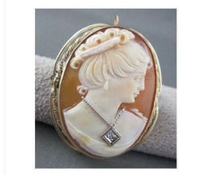 ANTIQUE DIAMOND 14KT YELLOW GOLD FILIGREE LADY CAMEO BROOCH & PENDANT 2756