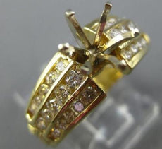 ESTATE .84CT DIAMOND 14KT YELLOW GOLD THREE ROW SEMI MOUNT ENGAGEMENT RING #189