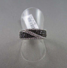 ESTATE WIDE 14KT .75CT WHITE & BLACK DIAMOND PAVE COCKTAIL FANCY RING