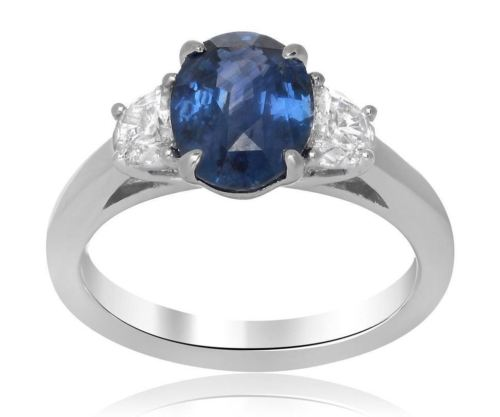 GIA CERTIFIED 3.04CT DIAMOND & AAA SAPPHIRE PLATINUM 3D 3 STONE ENGAGEMENT RING
