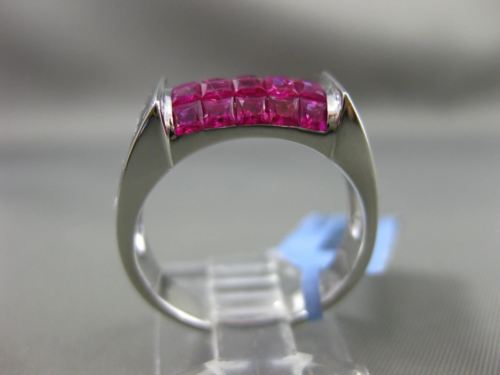 ESTATE WIDE 3.10CT AAA EXTRA FACET RUBY 18KT WHITE GOLD 3D RECTANGULAR MENS RING