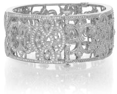ESTATE WIDE 2.71CT DIAMOND 18K WHITE GOLD OPEN FILIGREE CHADWICK BANGLE BRACELET
