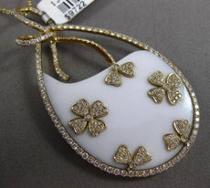 ANTIQUE LARGE 24CT DIAMOND & AGATE 18KT YELLOW GOLD FLORAL FLOATING DROP PENDANT