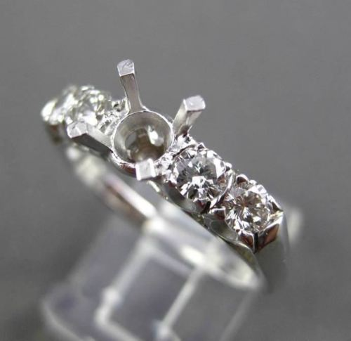 ANTIQUE .80CT DIAMOND 14KT WHITE GOLD 4 STONE SEMI MOUNT ENGAGEMENT RING #22086