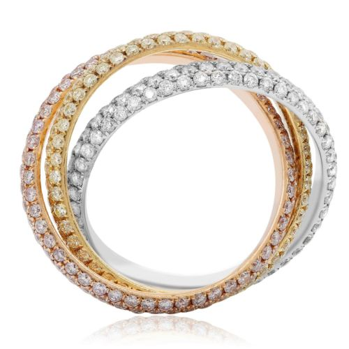3.05CT WHITE PINK & YELLOW DIAMOND 18K TRICOLOR GOLD 3D TRINITY ANNIVERSARY RING