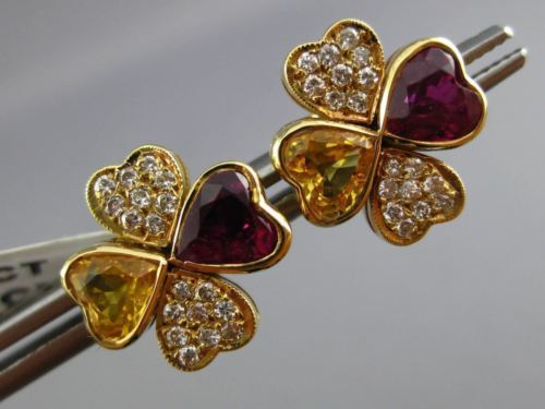 ANTIQUE 2.85CT DIAMOND & MULTI GEM 18KT YELLOW GOLD DOUBLE HEART EARRINGS #2875