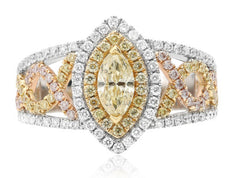 1.39CT WHITE PINK & FANCY YELLOW DIAMOND 18KT TRI COLOR GOLD 3D ENGAGEMENT RING