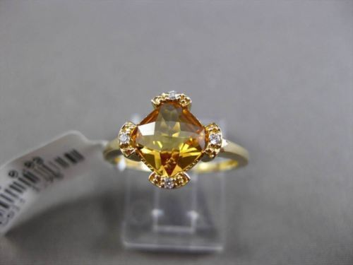 ESTATE 1.78CT DIAMOND & AAA CITRINE 14KT YELLOW GOLD 3D ETOILE ENGAGEMENT RING