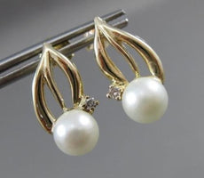 ANTIQUE DIAMOND 14KT YELLOW GOLD & AAA SOUTH SEA PEARL HANGING EARRINGS #22503