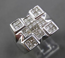 ESTATE LARGE 1.50CT PRINCESS CUT DIAMOND 14KT WHITE GOLD 3D INVISIBLE MENS RING