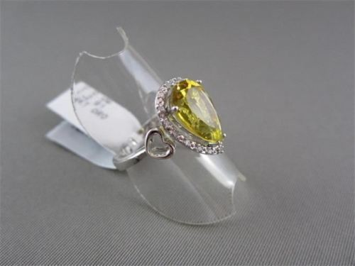 ESTATE WIDE 2.99CT DIAMOND & YELLOW TOPAZ 14KT WHITE GOLD PEAR SHAPE HEART RING