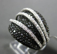ESTATE LARGE 2.45CT BLACK & WHITE DIAMOND 18KT WHITE GOLD WAVE COCKTAIL RING