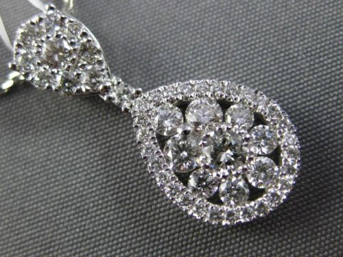 ESTATE .96CT DIAMOND 18KT WHITE GOLD CLUSTER TEAR DROP FLOATING PENDANT & CHAIN