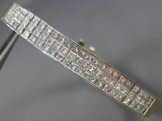 ESTATE WIDE 6.50CT DIAMOND 18KT TWO TONE GOLD 3 ROW HANDCRAFTED TENNIS BRACELET