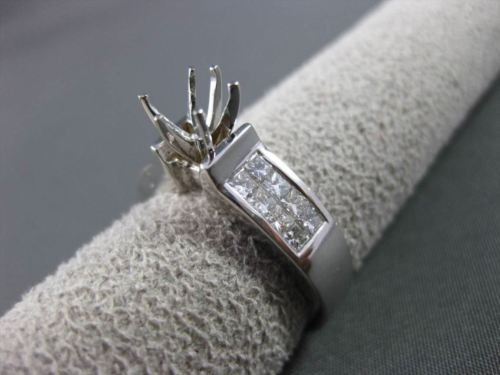 ESTATE WIDE .96CT DIAMOND 14KT WHITE GOLD SEMI MOUNT ENGAGEMENT RING #18891