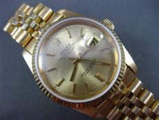 ESTATE ROLEX 18KT YELLOW GOLD OYSTER PERPETUAL DATEJUST CERTIFIED MENS WATCH