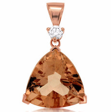 ESTATE LARGE 9.19CT DIAMOND & AAA MORGANITE 14KT ROSE GOLD 3D TRILLION PENDANT