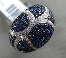 ESTATE WIDE 2.43CT DIAMOND & AAA SAPPHIRE 14KT WHITE GOLD 3D PAVE MULTI ROW RING