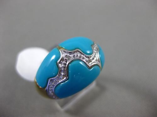 ESTATE .06CT DIAMOND & AAA TURQUOISE 14KT WHITE GOLD 3D CLOUD DESIGN FUN RING