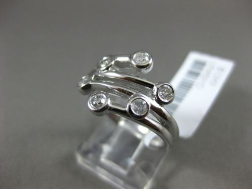 ESTATE WIDE .30CT ROUND DIAMOND 14KT WHITE GOLD 3D 6 STONE MULTI ROW ETOILE RING