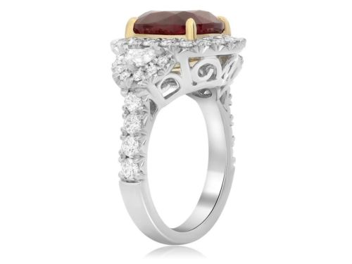 GIA CERTIFIED 7.56CT DIAMOND & AAA RUBY 18K YELLOW GOLD PLATINUM ENGAGEMENT RING
