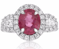 GIA CERTIFIED 4.30CT DIAMOND & AAA RUBY PLATINUM THREE STONE OVAL PROMISE RING
