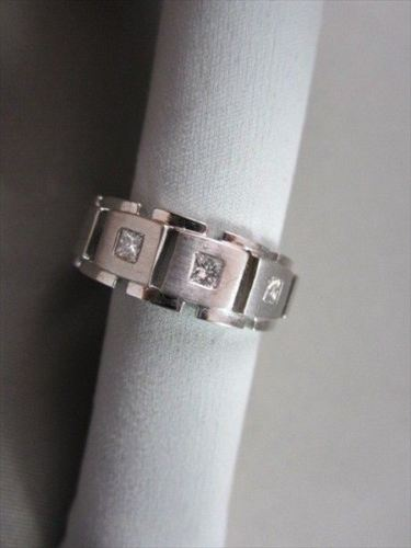 WIDE 7mm HAND CRAFTED .45CT F VVS DIAMOND 14KT WHITE GOLD MENS WEDDING BAND !!!!