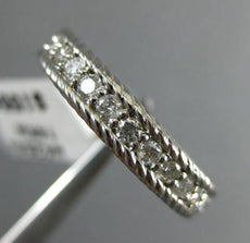 ESTATE .32CT DIAMOND 14K WHITE GOLD SEMI ETERNITY ROPE FILIGREE ANNIVERSARY RING