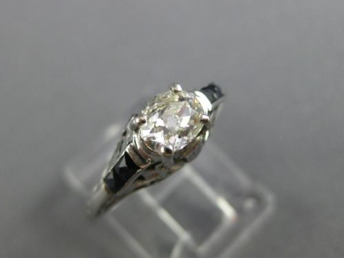 ANTIQUE .80CT OLD MINE DIAMOND SAPPHIRE 14K GOLD SOLITAIRE ENGAGEMENT RING 25272