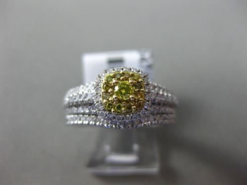 .80CT WHITE & FANCY YELLOW DIAMOND 14KT WHITE GOLD 3D SQUARE ENGAGEMENT RING SET