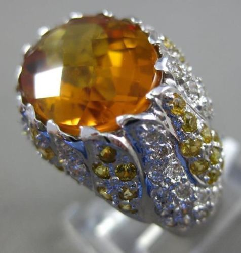 ESTATE WIDE 10.31CT DIAMOND CITRINE & YELLOW SAPPHIRE 18K WHITE GOLD FLOWER RING