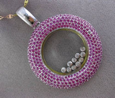 ESTATE MASSIVE 5.54CT DIAMOND & PINK SAPPHIRE 18K TWO TONE GOLD FLOATING PENDANT
