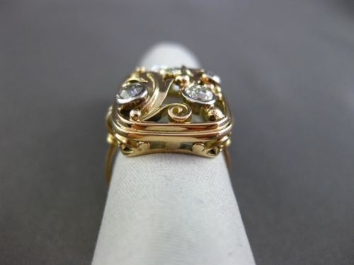 ANTIQUE WIDE .40CT OLD MINE DIAMOND & SOUTH SEA PEARL 14K 2 TONE GOLD RING 21823