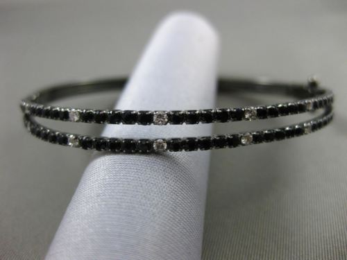 ESTATE 2.58CT DIAMOND & AAA SAPPHIRE 14KT BLACK GOLD DOUBLE ROW BANGLE BRACELET