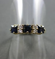 ESTATE .48CTW DIAMOND & AAA SAPPHIRE 14KT YELLOW GOLD 3D 3 STONE RING #22136