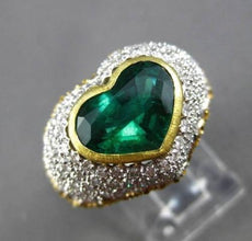 ANTIQUE PLATINUM & 18KT Y GOLD 4.55CT DIAMOND & EMERALD HEART ENGAGEMENT RING