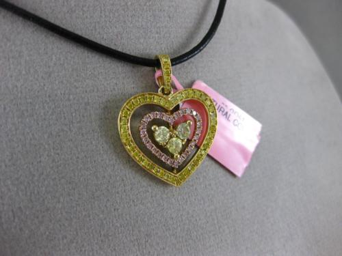 ESTATE 1.0CT FANCY YELLOW & PINK DIAMOND 18K 2 TONE GOLD 3D TRIPLE HEART PENDANT