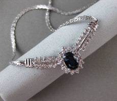 ESTATE 1.64CT DIAMOND & AAA SAPPHIRE 14KT WHITE GOLD HALO DOUBLE ROW NECKLACE