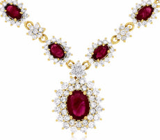 ESTATE LARGE 5.25CT DIAMOND & AAA RUBY 14KT YELLOW GOLD 3D FLOWER HALO NECKLACE