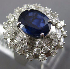 ESTATE EXTRA LARGE 6.06CT DIAMOND & AAA SAPPHIRE 18K WHITE GOLD 3D COCKTAIL RING