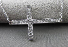 ESTATE LARGE .30CT DIAMOND 14KT WHITE GOLD MILGRAIN SIDEWAYS CROSS NECKLACE