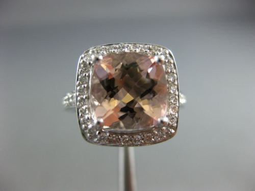 LARGE 3.60CT DIAMOND & AAA CUSHION CUT MORGANITE 14KT WHITE GOLD ENGAGEMENT RING
