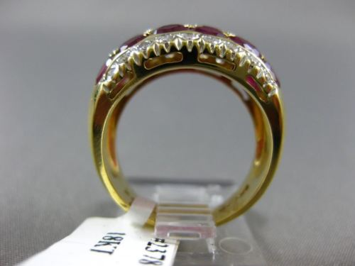 ESTATE WIDE 3.28CT DIAMOND & AAA RUBY 18K YELLOW GOLD 3 ROW ETOILE FUN RING 2378