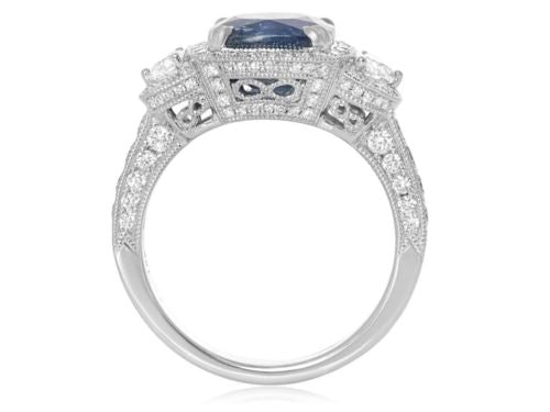 LARGE GIA CERTIFIED 5.21CT DIAMOND & AAA SAPPHIRE 18K WHITE GOLD ENGAGEMENT RING