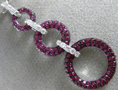 LARGE 2.14CT DIAMOND & PINK SAPPHIRE 18KT WHITE GOLD CIRCLE JOURNEY LOVE PENDANT
