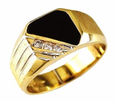 ESTATE .12CT ROUND DIAMOND & AAA ONYX 14K YELLOW GOLD 3D MATTE & SHINY MENS RING