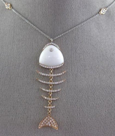 LARGE .76CT DIAMOND & AGATE 14KT ROSE GOLD 3D FISH SKELETON BY THE YARD NECKLACE