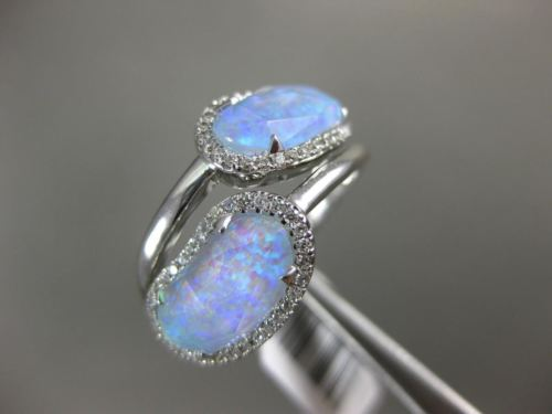 ESTATE .27CT DIAMOND & AAA OPAL 14KT WHITE GOLD 3D HALO CIRSS CROSS DOUBLE RING